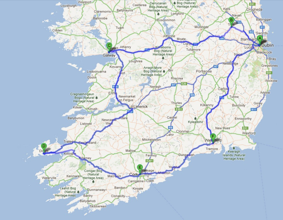 Map Of Ireland For Driving.The Selfish Guide To The Republic Of Ireland The Selfish Years